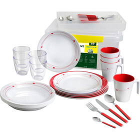 Brunner All Inclusive Dishes Set 36+1 Pieces, wit/rood